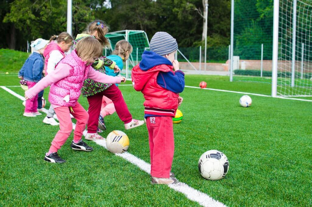 First grade children doing an extracurricular activiity