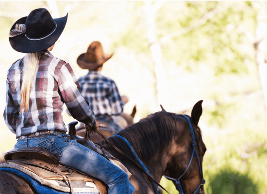 A couple ride together on a sunny trail. This could represent overcoming trail riding anxiety. Learn grounding exercises for anxiety from anxiety counseling in Scotch Plains, NJ. A teenage anxiety therapist would love to help you!